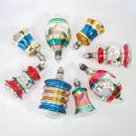 Click here to enlarge image and see more about item 14235: 1940s Premier Shapes Glass Christmas Ornaments