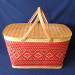 Click here to enlarge image and see more about item 14243: Red-Man 1950s Woven Red Tan Picnic Basket