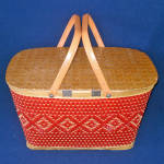 Click to view larger image of Red-Man 1950s Woven Red Tan Picnic Basket (Image2)