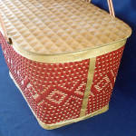 Click to view larger image of Red-Man 1950s Woven Red Tan Picnic Basket (Image3)