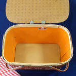 Click to view larger image of Red-Man 1950s Woven Red Tan Picnic Basket (Image4)