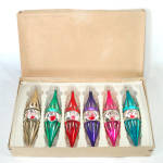 Click to view larger image of Box Austrian Blown Glass Indent Icicle Christmas Ornaments (Image2)