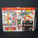 Click here to enlarge image and see more about item 14260: Doubl-Glo 1940s Punch Out Valentine Toy Airplanes