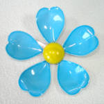 Click here to enlarge image and see more about item 14265: Blue Yellow Enameled Metal Flower Pin Brooch