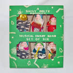 Click here to enlarge image and see more about item 14273: Box Shiny Brite Dwarf Band Chenille Pinecone Christmas Gnomes