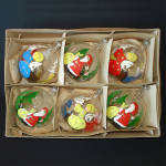 Click here to enlarge image and see more about item 14302: Box Italian Painted Santa, Angel Bubble Glass Christmas Ornaments