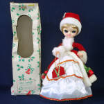 Click here to enlarge image and see more about item 14317: Boxed 1970s Big-Eyed Bradley Style Christmas Girl Boudoir Doll