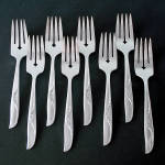 Click here to enlarge image and see more about item 14324: Jennifer Oneida 8 Silverplate Salad Forks 1959