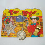 Click here to enlarge image and see more about item 14326: Tex The Ranger 1950s Cowboy Toy Play Set on Original Card