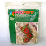 Click here to enlarge image and see more about item 14328: Feltpoint Poinsettia Christmas Stocking Needlework Stitchery Kit