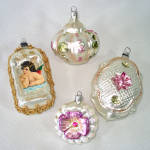 Click here to enlarge image and see more about item 14334: West Germany Pastels, Angel Scrap Glass Christmas Ornaments
