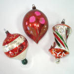 West German Apple Core, Parachute Glass Christmas Ornaments