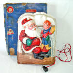 Click here to enlarge image and see more about item 14344: Royal Electric 1950s Lighted Santa Howdy Doody Christmas Plaque