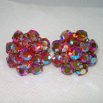 Click here to enlarge image and see more about item 14352: Red Aurora Rhinestone Cluster Clip Earrings