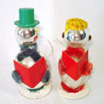 Click here to enlarge image and see more about item 14358: Japan Glass Chenille Whimsy Caroling Snowman Christmas Ornaments