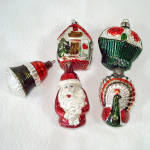 1950s West Germany Glass Christmas Ornaments Santa Peacock