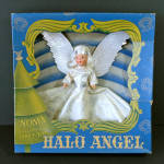 Click here to enlarge image and see more about item 14370: 1943 Noma Composition Face Halo Angel Christmas Tree Topper