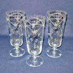 Click here to enlarge image and see more about item 14372: Lotus 1930s Deco Gray Cut Ice Tea Goblets Tumblers