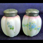 Click here to enlarge image and see more about item 1437: Gillinder Melon Victorian Opalware Shakers Blue Flowers