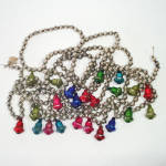 Click to view larger image of Mercury Glass Christmas Tree Bead Garland Blown Glass Bells 8 Feet (Image2)