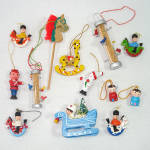 Click here to enlarge image and see more about item 14397: 1970s Painted Wood Figural Christmas Ornaments