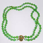 Click here to enlarge image and see more about item 14427: Green AB Cut Crystal Two Strand Necklace
