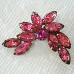 Click here to enlarge image and see more about item 14431: Pink Navette Rhinestone Stylized Flower Brooch Pin