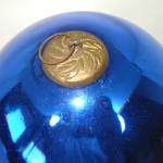 Click to view larger image of Antique Large Cobalt Blue German Glass Kugel Christmas Ornament (Image5)