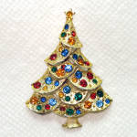 Rhinestone Jeweled Christmas Tree Brooch Pin