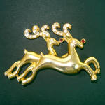 Double Reindeer Rhinestone Goldtone Christmas Brooch Pin
