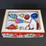 Click here to enlarge image and see more about item 14466: Box Czech Figural Free Blown Glass Christmas Ornaments