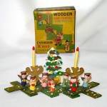 Click here to enlarge image and see more about item 14493: Boxed 1950s Wood Christmas Expansion Display Ornament Angels