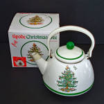 Click here to enlarge image and see more about item 14499: Spode Christmas Tree Enamel Tea Kettle Mint in Box