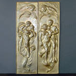 Click here to enlarge image and see more about item 14501: Art Nouveau Embossed Brass Romantic Couple Wall Panels