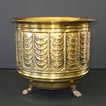 Click here to enlarge image and see more about item 14502: English Brass Footed Jardiniere Never Used