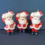 Click here to enlarge image and see more about item 14508: 3 Gurley Waving Santa Claus Figural Christmas Candles