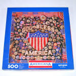 Click here to enlarge image and see more about item 14524: Americana Springbok Jigsaw Puzzle Patriotic Collage
