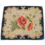 Click here to enlarge image and see more about item 14535: Spray of Roses 1930s Hand Hooked Rug 25 by 30 Inches