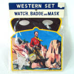 Click here to enlarge image and see more about item 14539: 1950s Western Play Set Toy Mask Badge Watch Never Used