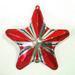 Click to view larger image of 1930s USA Tin Litho Bell, Star Metal Christmas Ornaments (Image2)