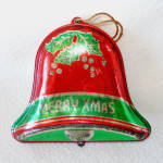 Click to view larger image of 1930s USA Tin Litho Bell, Star Metal Christmas Ornaments (Image3)