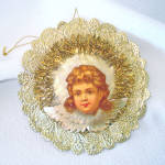 Click here to enlarge image and see more about item 14610: Angel Paper Scrap Tinsel Christmas Ornament