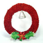 Click here to enlarge image and see more about item 14657: Red Brush Hinoki Christmas Wreath Bell Holly