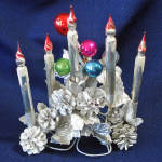 Click here to enlarge image and see more about item 14676: Mercury Glass Candle Pinecones Christmas Centerpiece Display