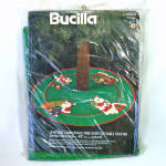Click here to enlarge image and see more about item 14691: Bucilla Santas Journey Beaded Stitchery Christmas Tree Skirt Kit