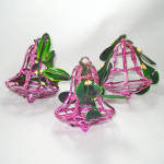 Click here to enlarge image and see more about item 14699: 1950s Bradford Mistletoe Kissing Bell Christmas Ornaments