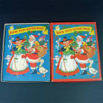 Click here to enlarge image and see more about item 14724: 1953 Christmas Pop Up Santa Mother Goose Book In Box With Toys
