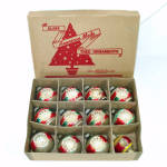 Click here to enlarge image and see more about item 14755: Box Shiny Brite Double Indent Glass Christmas Ornaments