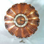 Click here to enlarge image and see more about item 14770: 1950s Gregorian Copper Wall Clock
