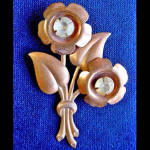 Click here to enlarge image and see more about item 1507: Copper & Rhinestone Flower Pin
